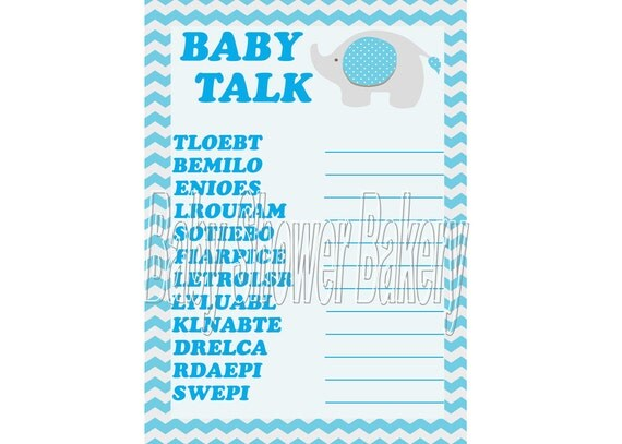 Elephant Baby Shower Game, Blue Elephant Printable Baby Shower Game ...