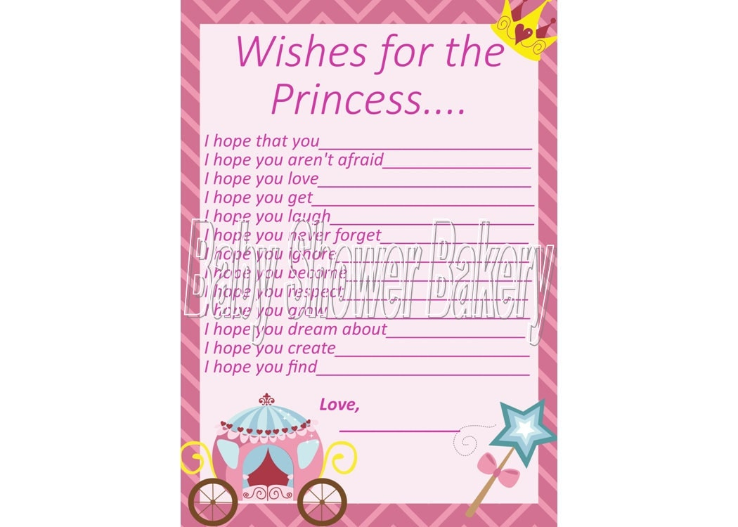 wishes for baby princess baby shower game instant download