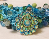 Crocheted Wrap Bracelet in Gorgeous Ocean Colors with Rhinestone Button Closure