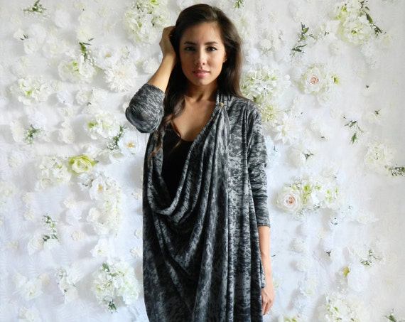 S/M Gray Burnout Convertible Asymmetrical Cardigan with Gold Vintage Stick Pin / Lightweight Sweater / Draped Cardi / Fall Fashion