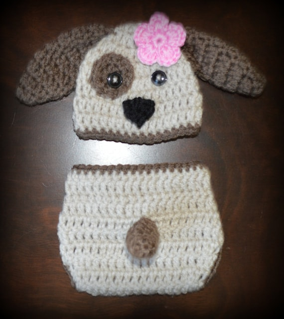 Crochet Pattern For Baby Dungarees : Crochet Puppy Dog Baby Beanie Hat & Diaper Cover Photo Prop