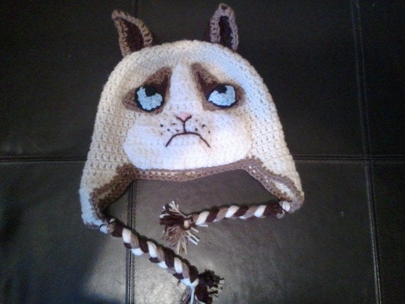mean sour grumpy cat hat with earflaps by littledebisnack. Black Bedroom Furniture Sets. Home Design Ideas