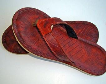 Alligator Embossed Leather Flip Flops