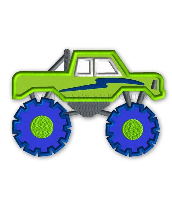 Monster truck full applique boy embroidery design