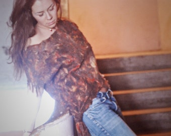 Eco style and boho chic fashion felted blouse from natural silk and A-Grade wool (fur free) OOAK