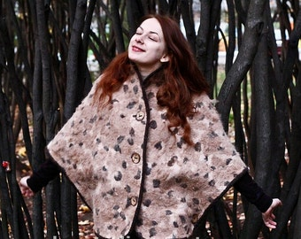 Eco style and boho chic fashion red felted cape from natural silk and A-Grade wool (with leopard-print) OOAK - to order