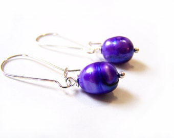 Shimmering Purple Genuine Freshwater Pearl Wire Wrapped Earrings / Gift for Her