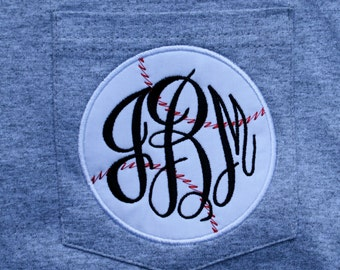 MONOGRAMMED Baseball Pocket Tees-Perfect for Cheering on your Lil' Slugger-Baseball Tee, Team T-shirt, Ball Field T-shirt