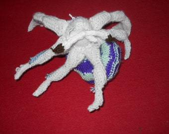 Hermit Crab Green, Purple, White, and Blue Hand Knit Stuffed Animal