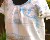 RESERVED for Nicky!!!! Unusual vintage genuine military map top with sequins and lace detail
