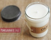 Sage & Pomegranate, 8oz Soy Candle in a Reusable Glass Jar