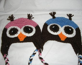 Owl Earflap Beanie-Infant pink and Blue Twins