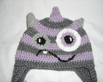 Purple and Grey Monster beanie