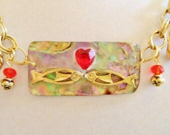 """Upcycled Abalone Crystal Rhinestone Necklace- """"KISSING FISH"""" Upcycled Necklace."""