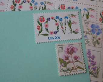 Gardening With Love... Unused Vintage Postage Stamps ... Enough to Mail 5 letters 2016 Postage Rate