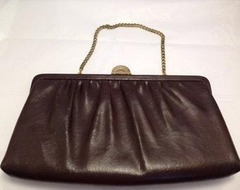 Fabulous vintage brown handbag clutch with attached mirror