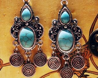 Turquoise Chandalier Earrings Ethnic Jewelry