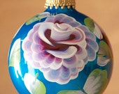 Hand painted aqua colored glass Christmas tree holiday ornament with red roses, green and white leaves