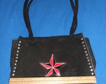 Vintage Demonia Studded Black Suede Leather Handbag