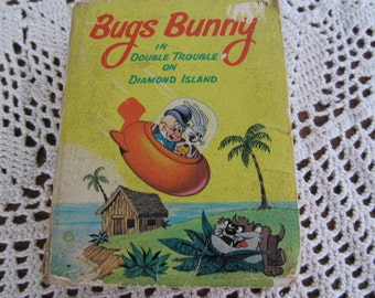 1967 Little Big Books Bugs Bunny Childrens Vintage Book Warner Brothers Pictures Bugs Bunny in Double Trouble on Diamond Island