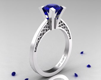 Modern Armenian 14K White Gold Lace 1.0 Ct Natural Blue Sapphire Solitaire Engagement Ring R308-14KWGNBS