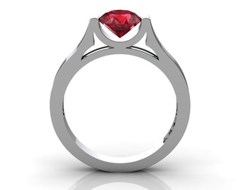 14K White Gold Elegant and Modern Wedding or Engagement Ring for Women with a Ruby Center Stone R665-14KWGR