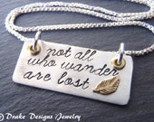 Inspirational Necklace Not all who wander are lost Sterling Silver wanderlust jewelry