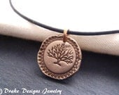 Golden bronze tree of life necklace wax seal jewelry
