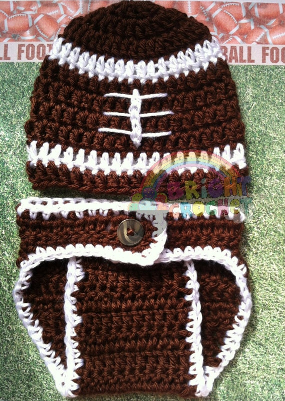 Free Crochet Pattern Football Diaper Cover : Baby Boy Football Crochet Hat And Diaper Cover by ...