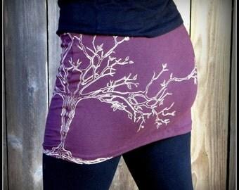 Tree Mini Skirt ~ Yoga Festival Hooping clothing ~ Stretchy Plum Purple or Black Cotton ~Tree of Life Screenprint Silk Screen Burning Man