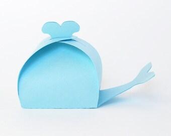 Whale Shaped Favor Box Set of 12 (Light Blue)