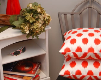 Orange White Ikat Chevron and Dot 2 Sided Throw Pillow Cover 16 X 16, Reversible Decorative Pillow, Bright Modern Pillow Cover