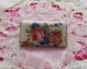Pretty Antique Floral Porcelain Brooch Pin..Victorian style