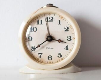 "Soviet clock Russian clock Mechanical clock alarm -WORKING-  USSR ""Sevani"" from Soviet Union Vintage period"