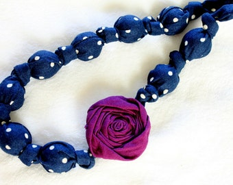 Fabric Necklace,Teething Necklace, Chomping Necklace, Nursing Necklace - Blue Polka Dots with Purple Rose