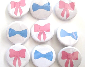BowTies and Bows Gender Reveal Party  Party Favors Set 1.25 inch Pin Back  Buttons Pink Blue Baby Shower Bow ties and Ribbons