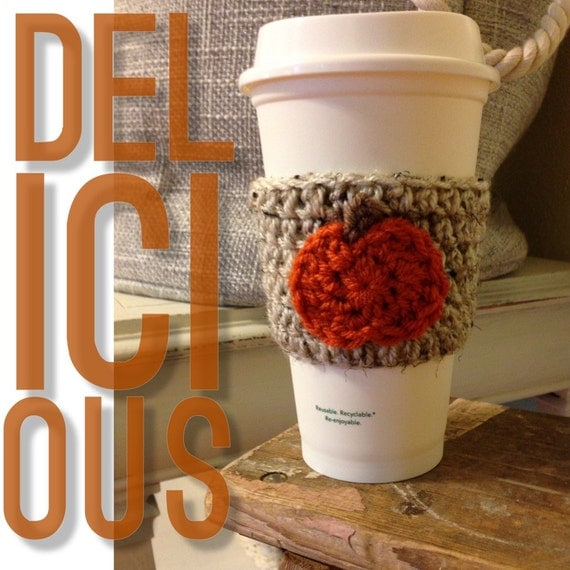Crochet Pumpkin Coffee Cozy Oatmeal & Orange Pumpkin Spice