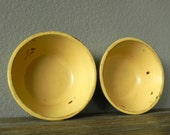 Buttery Yellow Distressed Decorative Wooden Bowl - Rustic Farmhouse Cottage Decor - Wooden Storage Container