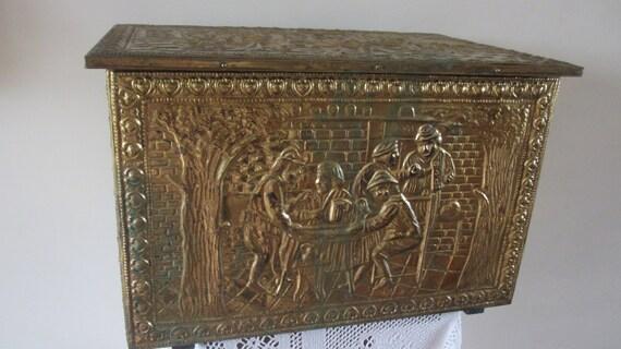 Vintage Embossed Brass Log Coal Fireside Box