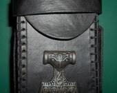 Leather Cigarette Case - Mjolnir (Thor Hammer) Black or Brown