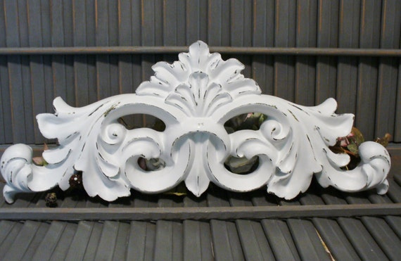 French Fleur De Lis Wall Decor Swag Pediment Victorian Shabby Cottage Chic Style