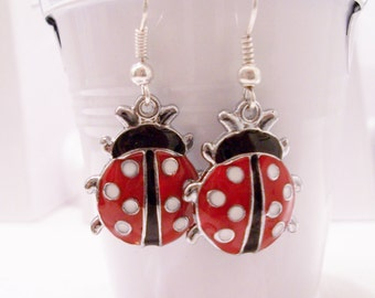 Ladybug metal earrings - ladybug earrings - ladybug jewelry - metal ladybug charms - ladybugs - ladybird earrings - ladybirds