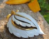 White Enamel Leaf Brooch