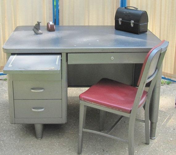 Tanker desk office desk mid century metal desk Small steel desk
