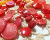 46 Vintage Acrylic Button Supply Pink, Red & Orange