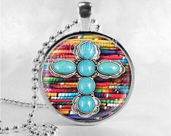 TURQUOISE CROSS Necklace, Cross Pendant, Cross Jewelry, Cowgirl Cross, Tribal Cross, Turquoise, Southwestern Cross, Christian Jewelry