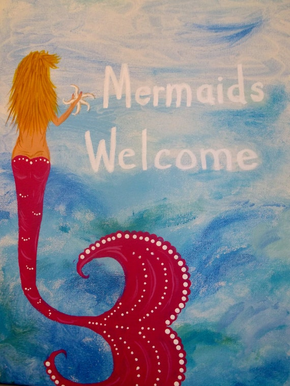 Acrylic Painting Art Beach Decor Mermaid Picture