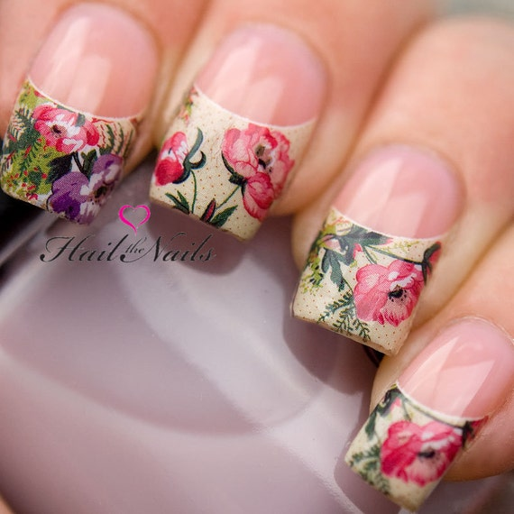 ... Rose French Nail Tips Water Transfer Decals Nail Art Wraps Y072