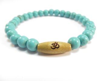 Turquoise Om Healing Mala Bracelet Yoga Jewelry Wrist Mala Namaste Meditation Bracelet,Buddhist Gemstone Mala,Unique Birthday Gift For Her