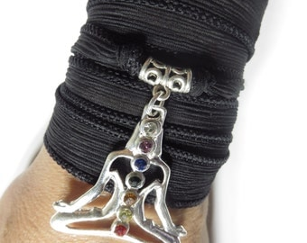 Meditated Silk Wrap Bracelet,Chakra Bracelet,Yoga Jewelry Black Bohemian Bracelet,7th Chakras Jewelry,Yoga Gift,Christmas Stocking Stuffer